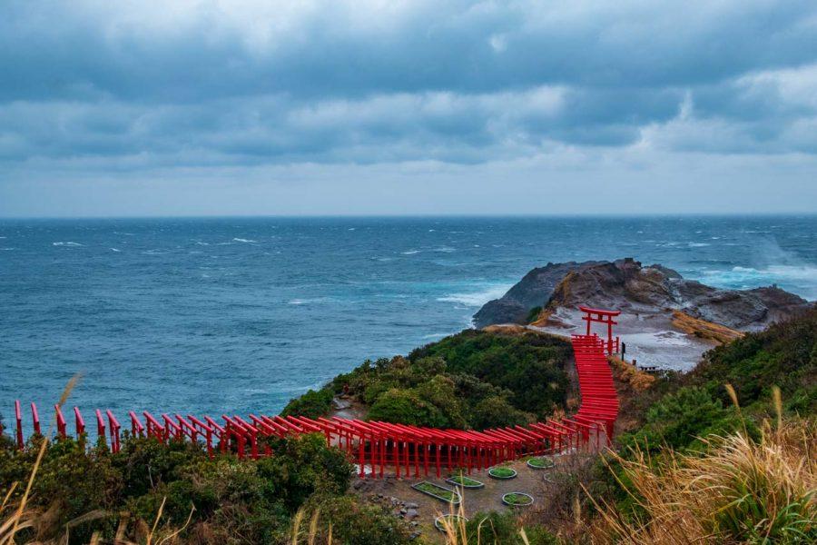Japanese torii gates by yamaguchi ocean at Motonosumi_Inari_Shrine, Japan