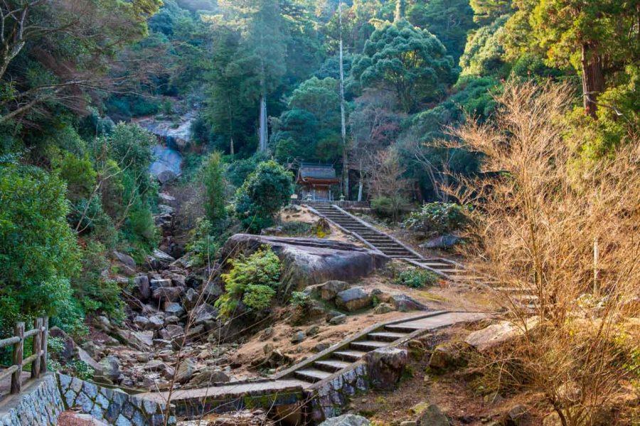 Japanese hiking trail in miyajima