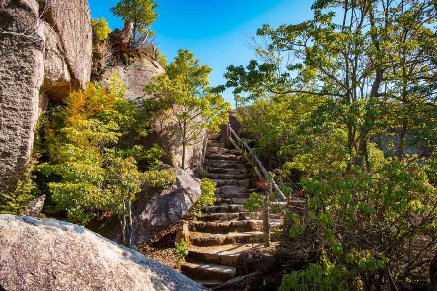 Japanese hiking trail on Mount Misen