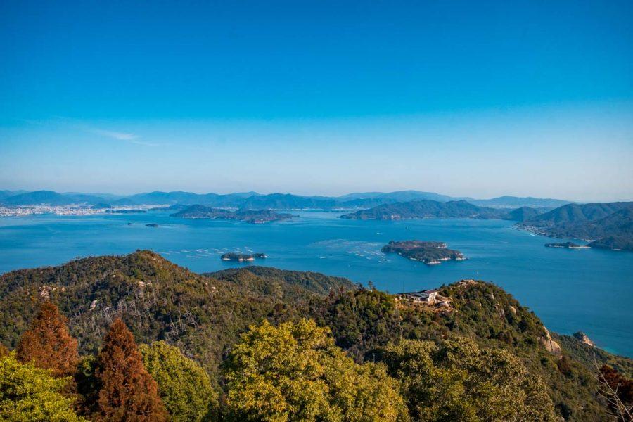 Japanese ocean views while hiking on Mt. Misen in Miyajima