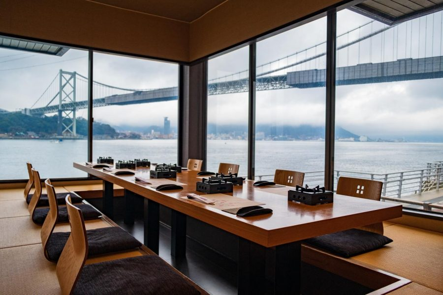 Traditional Japanese restaurant with ocean views in Japan
