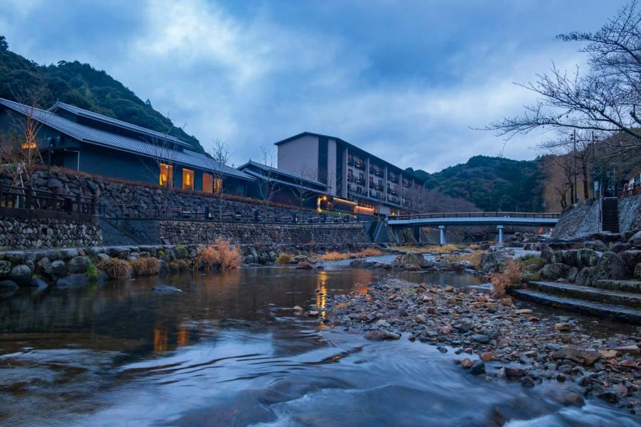 Japanese onsen town with river in Yamaguchi prefecture, Japan