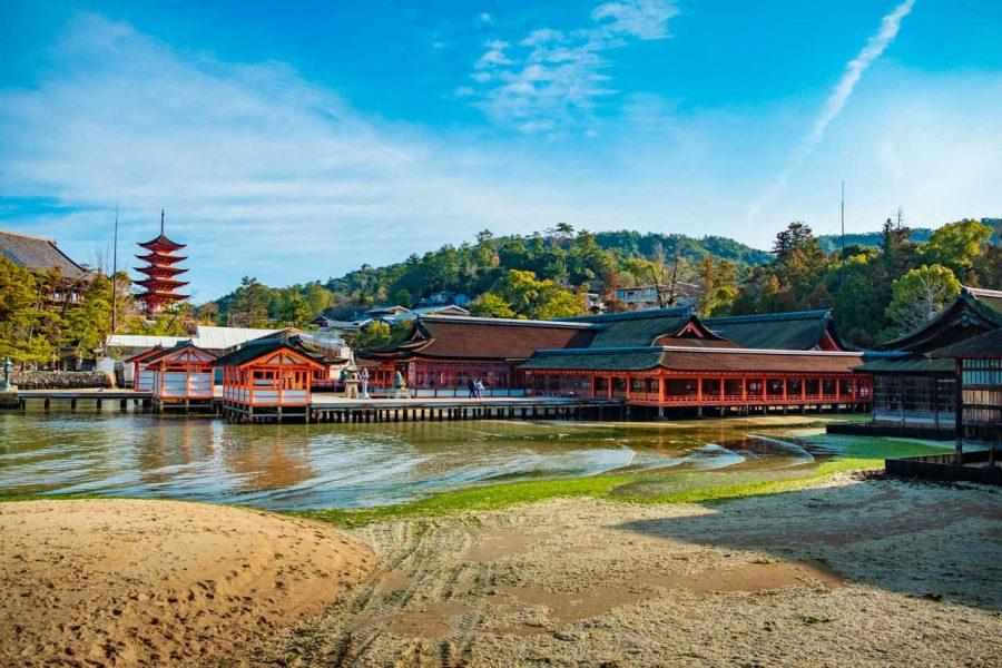 Traditional Japanese shrine, Itsukushima Shrine on miyajima island, Japan
