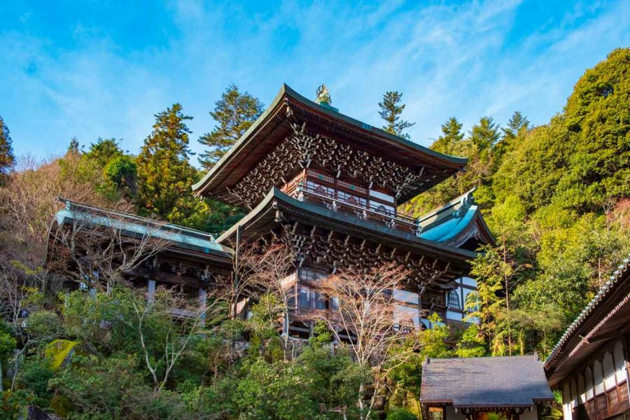 Japanese traditional structure and hall at Daisho-in temple on Miyajima, Japan
