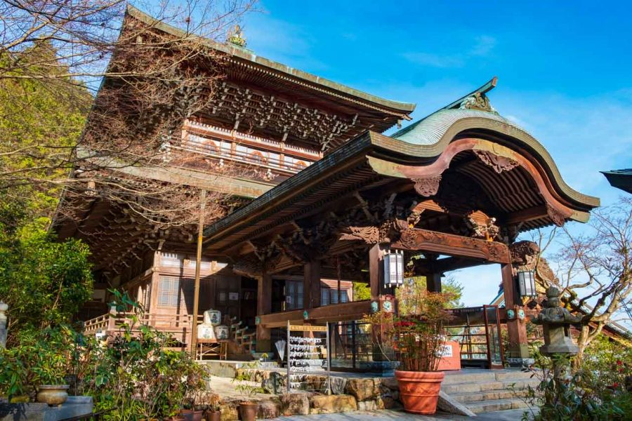 Japanese traditional structure and hall at Daisho-in temple on miyajima