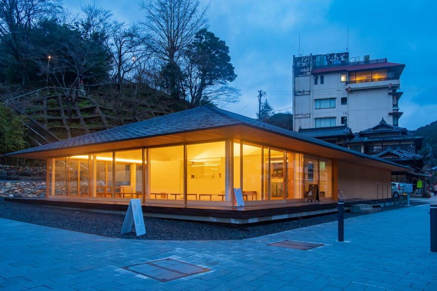 exterior of modern Japanese style building at night, in Yamaguchi prefecture, Japan