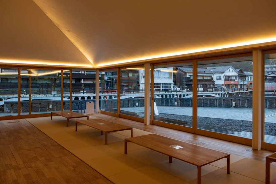 interior of modern Japanese building in onsen town, Japan
