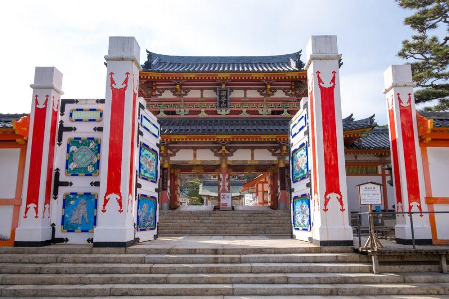 gateway to Japanese temple, kosanji, in hiroshima prefecture along the Shimanami Kaido