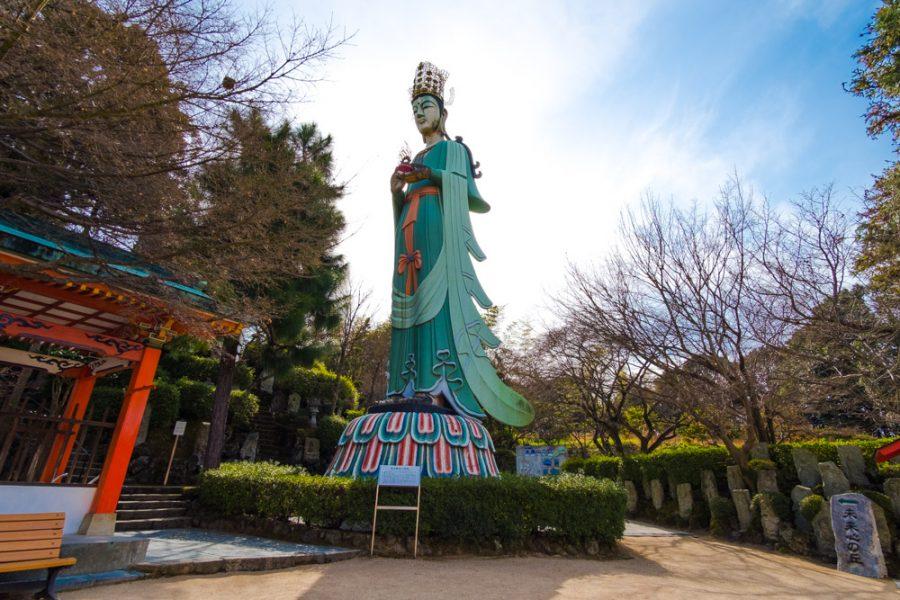 statue of kannon at kosanji temple, a Japanese religious site in Hiroshima, Japan along the Shimanami Kaido