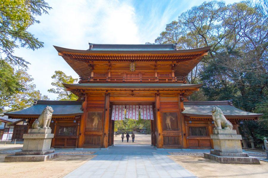 traditional Japanese wooden gate at oyamazumi shrine in ehime, japan