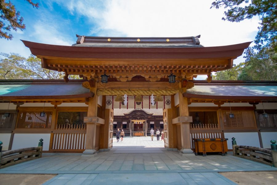 gate to Japanese shrine in ehime prefecture, japan