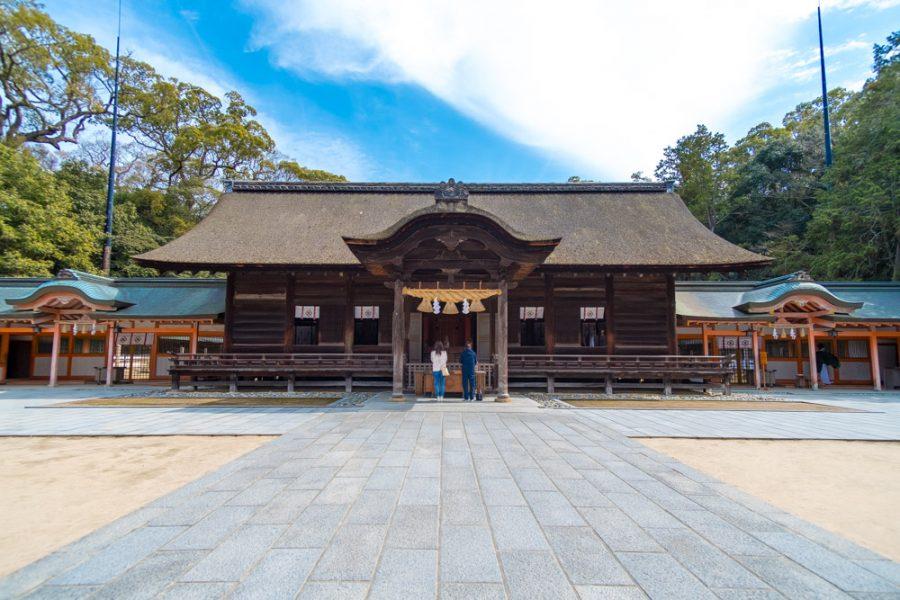traditional japanese shrine, oyamazumi shrine, in ehime, japan