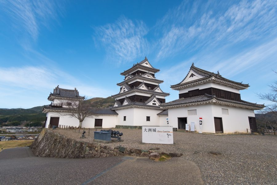 traditional japanese castle in ehime, japan
