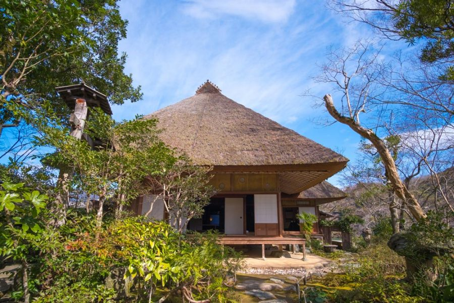 traditional thatched roof house in japan, ehime