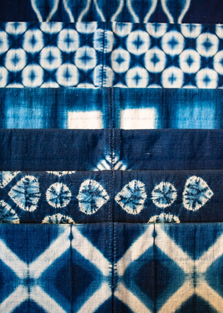 cloth dyed in various patterns using natural indigo in Japan