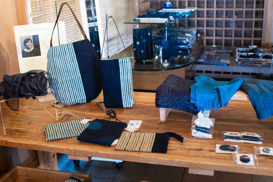 Various indigo dyed products by artisan Chiaki Murakami