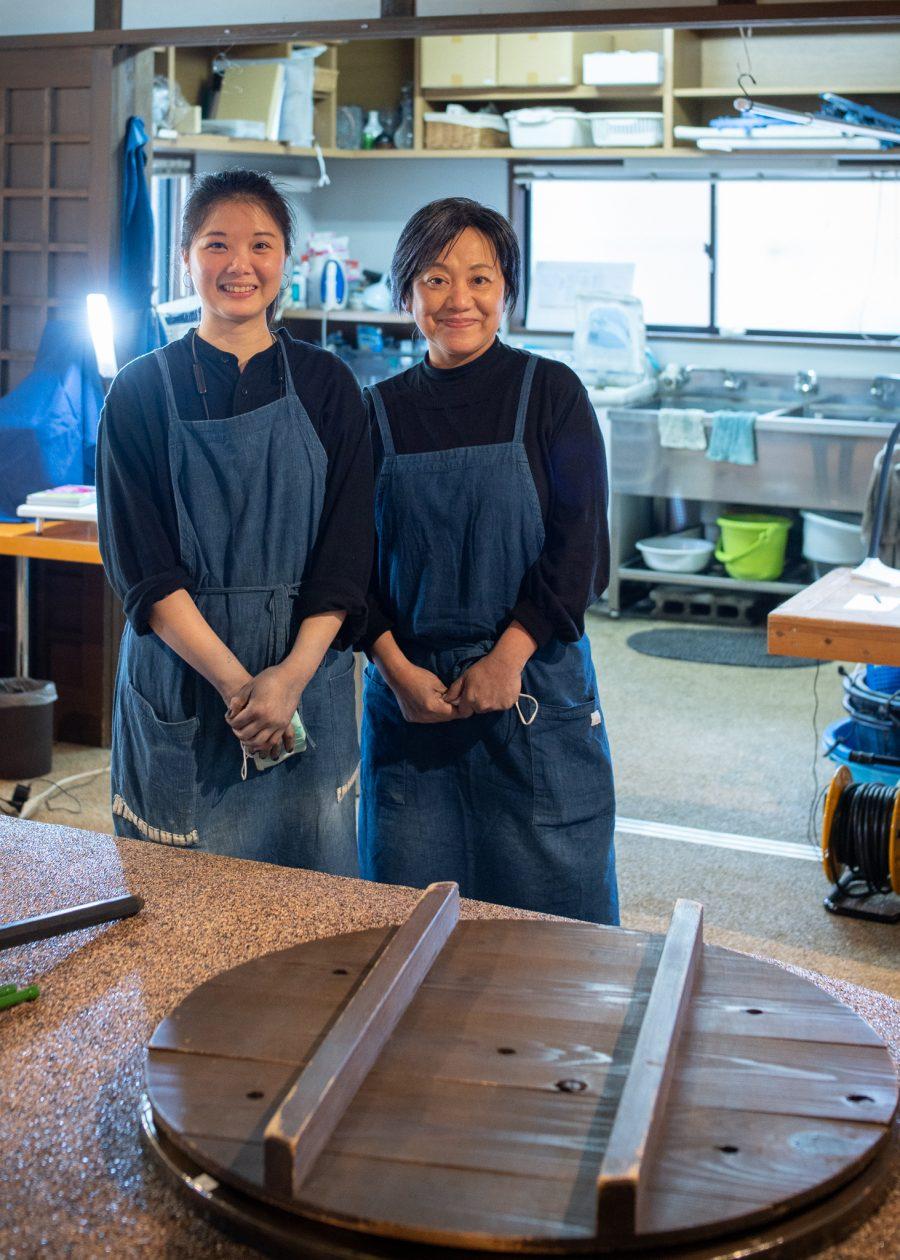 indigo dyeing craftswomen at a studio in Tokushima, Japan
