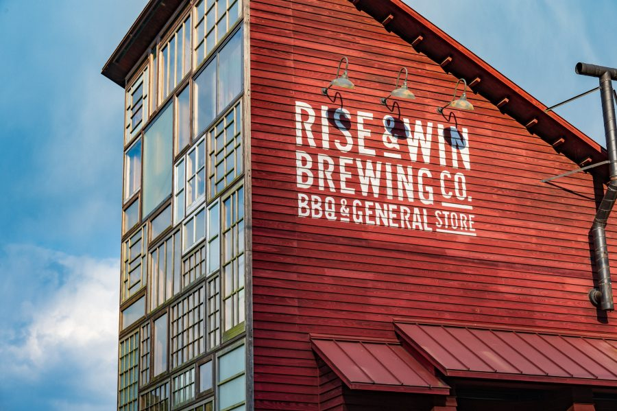 The red-painted Rise & Win Brewing Co. in Setouchi