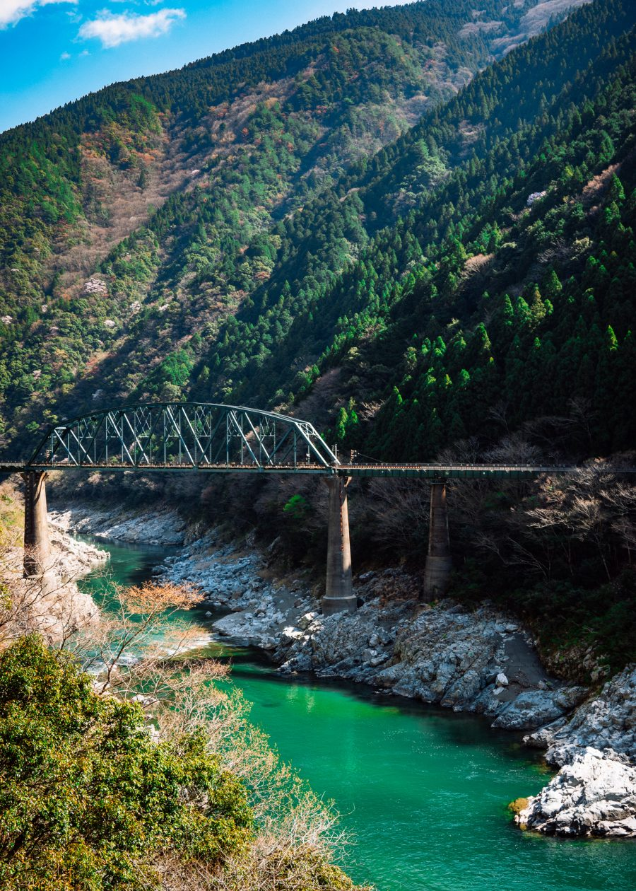 train bridge over the Oboke Gorge in Tokushima