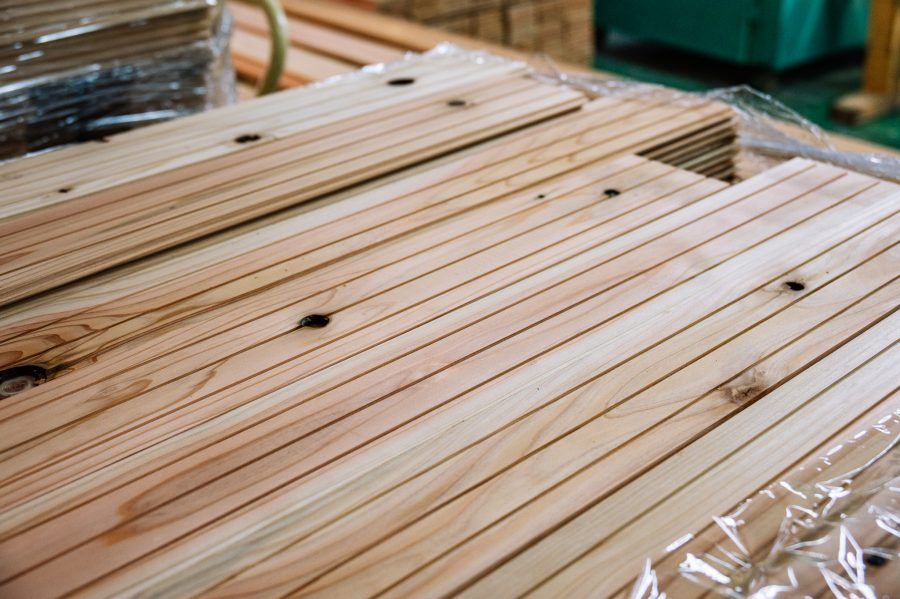 Cedar flooring produced sustainably at a Japanese factory in Okayama