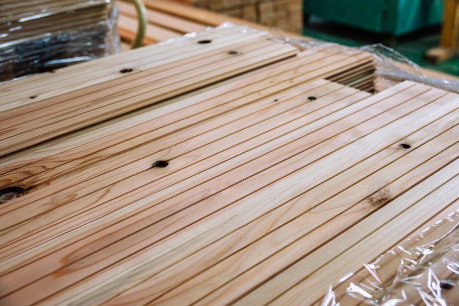 Cedar flooring produced sustainably at a Japanese factory in Okayama
