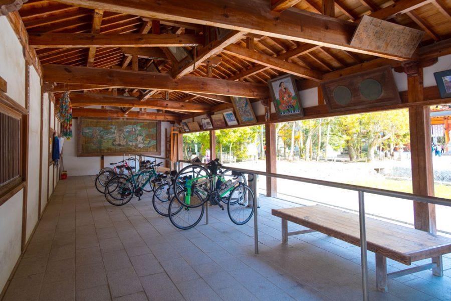 Bike rack at Japanese shrine for Shimanami Kaido cycling trip in Japan