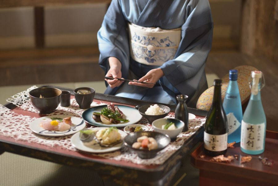 traditional japanese cuisine in castle, ehime, japan