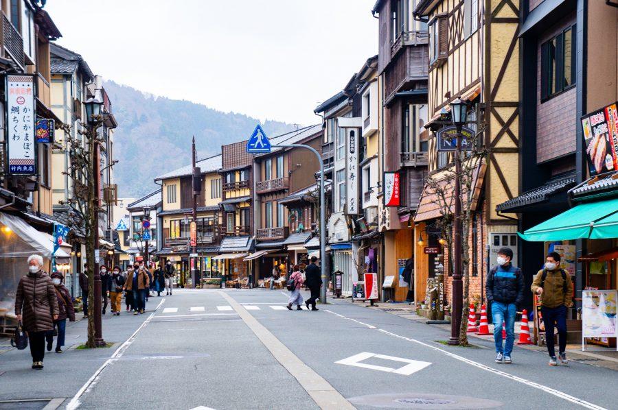 Rue entre la gare de Kinosaki Onsen et le centre touristique