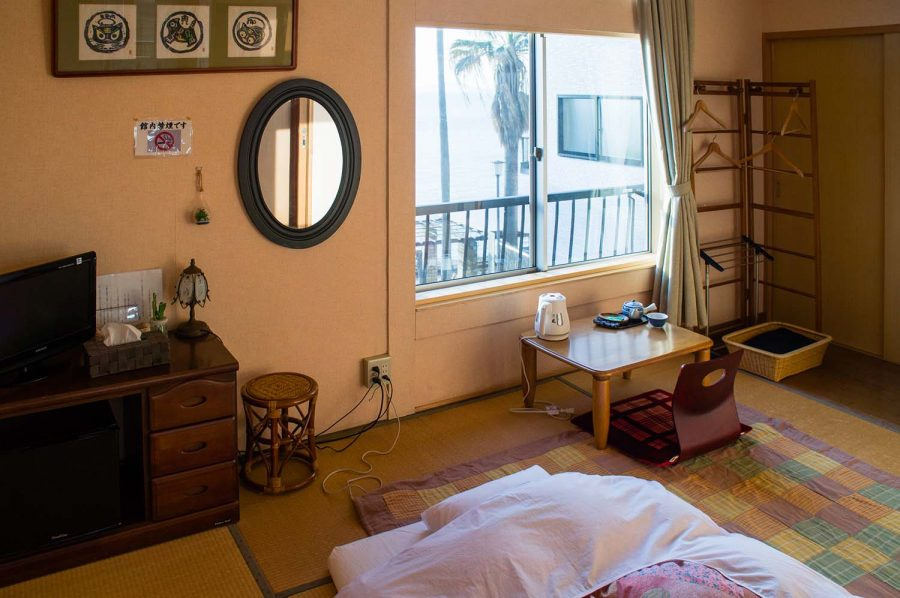 Traditional Japanese tatami room in a family-run lodge