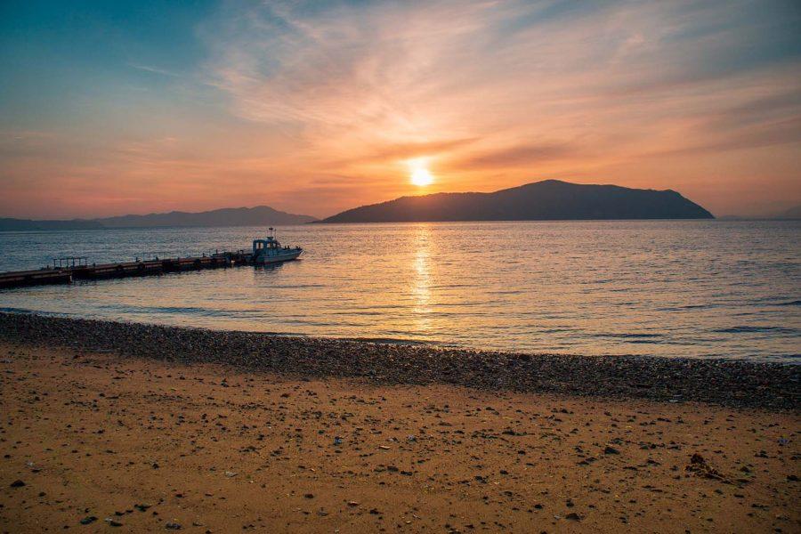 Sunrise on an island in Japan's Seto Inland Sea.
