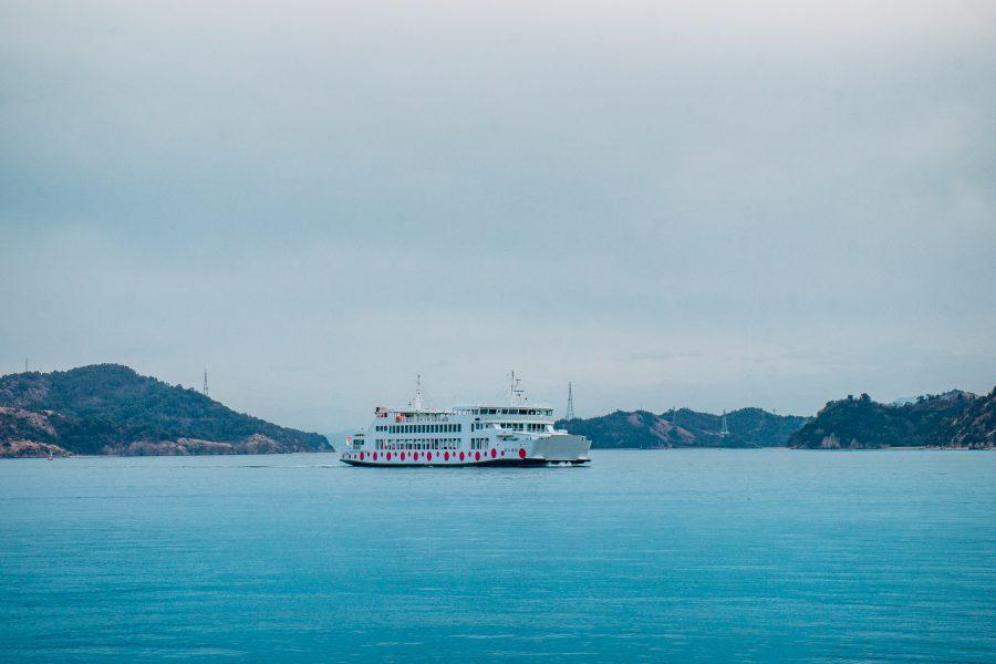 The white and red polka dot ferry to Naoshima
