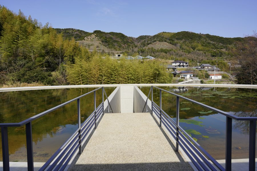 Modern Japanese architecture with island views
