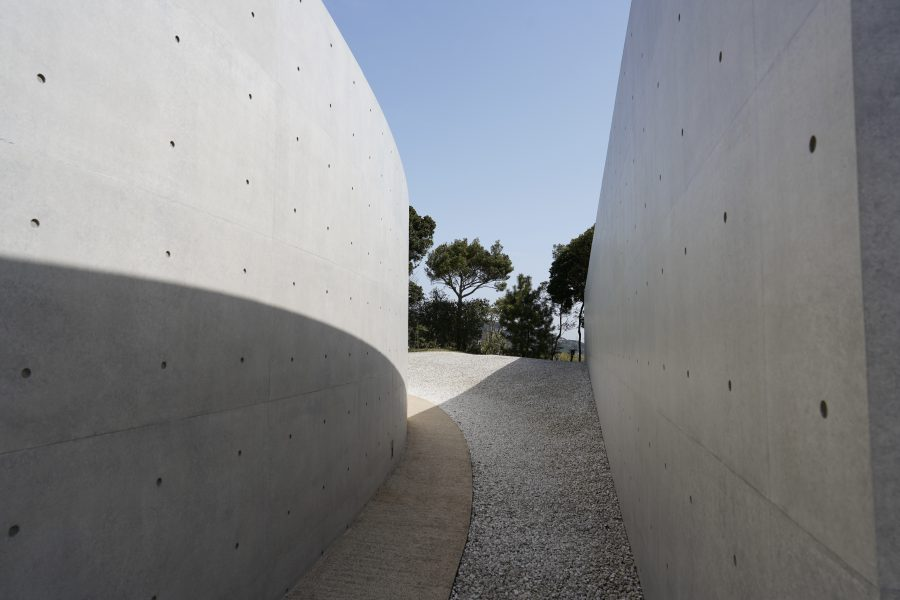 modern Japanese architecture with cement walls in Japan