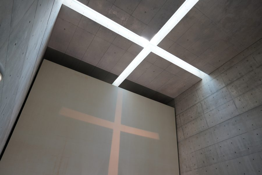 Japanese modern architecture with cross light inside Tadao Ando building